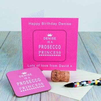 Personalised PROSECCO PRINCESS CARD COASTER SET