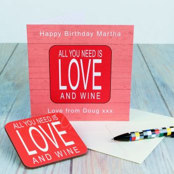 Personalised ALL YOU NEED IS LOVE AND... CARD & COASTER SET