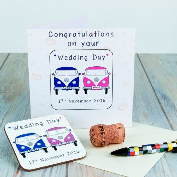 Personalised WEDDING CARD & COASTER SET