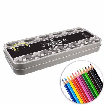 Personalised BACK TO SCHOOL Pencil Tin with Crayons - Army Camo