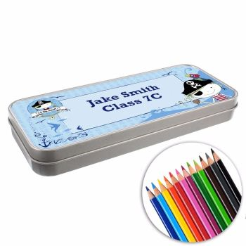 Personalised BACK TO SCHOOL Pencil Tin with Crayons - Pirate