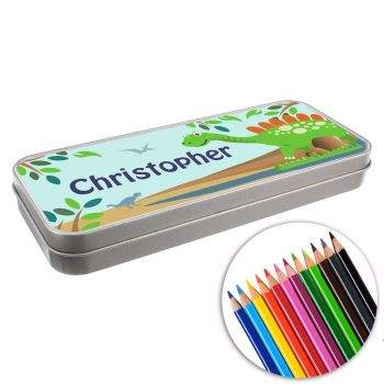 Personalised BACK TO SCHOOL Pencil Tin with Crayons - Dinosaur