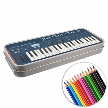 Personalised BACK TO SCHOOL Pencil Tin with Crayons - Keyboard