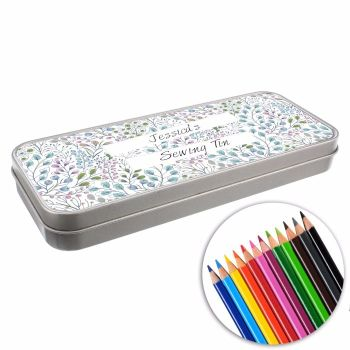 Personalised BACK TO SCHOOL Pencil Tin with Crayons - Floral/Botanical