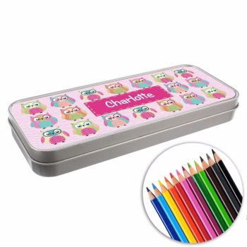 Personalised BACK TO SCHOOL Pencil Tin with Crayons - Owls