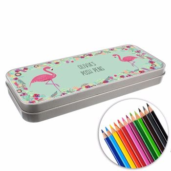 Personalised BACK TO SCHOOL Pencil Tin with Crayons - Flamingos