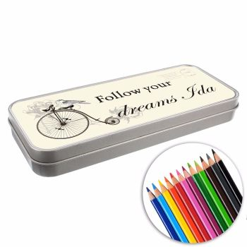 Personalised BACK TO SCHOOL Pencil Tin with Crayons - Penny Farthing