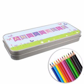 Personalised BACK TO SCHOOL Pencil Tin with Crayons - Bunting
