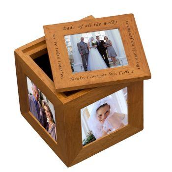Personalised Oak Photo Cube Keepsake Box - Dad Of All The Walks