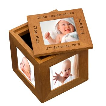 Personalised Oak Photo Cube Keepsake Box - New Baby