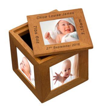 Personalised Oak Photo Cube Keepsake Box - New Baby
