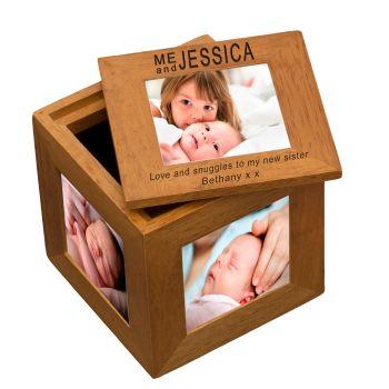 Personalised Oak Photo Cube Keepsake Box - Me and...