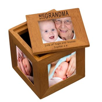 Personalised Oak Photo Cube Keepsake Box - Me and Grandma