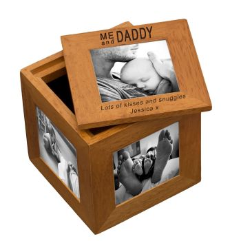 Personalised Oak Photo Cube Keepsake Box - Me and Daddy