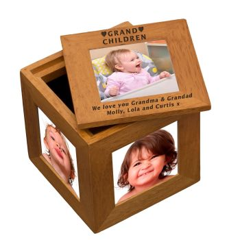 Personalised Oak Photo Cube Keepsake Box - Grandchildren