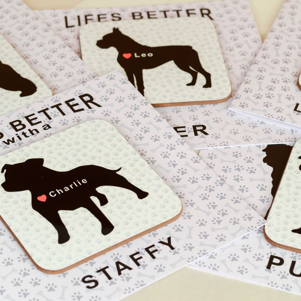 Personalised Life's Better with a JACK RUSSELL Card & Coaster Set