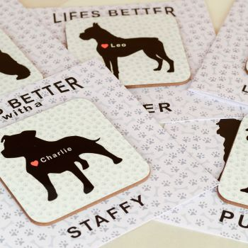 Personalised Life's Better with a BORDER TERRIER Card & Coaster Set