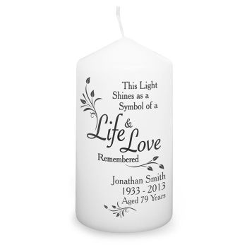 Personalised LIFE & LOVE Memorial Candle