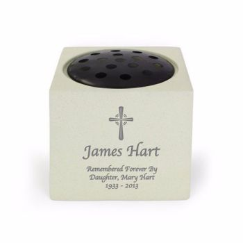 Personalised CROSS Grave Urn / Memorial Vase