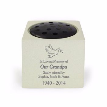 Personalised DOVE Grave Urn / Memorial Vase