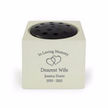 Personalised FLOATING HEARTS Grave Urn / Memorial Vase