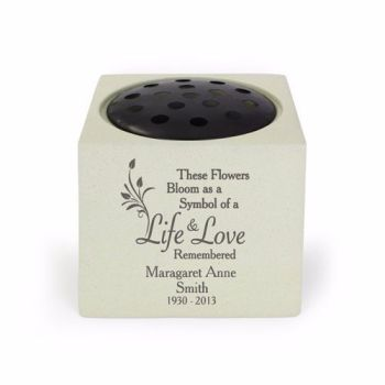 Personalised LIFE & LOVE Grave Urn / Memorial Vase