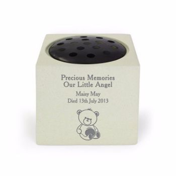 Personalised TEDDY Grave Urn / Baby Memorial Vase