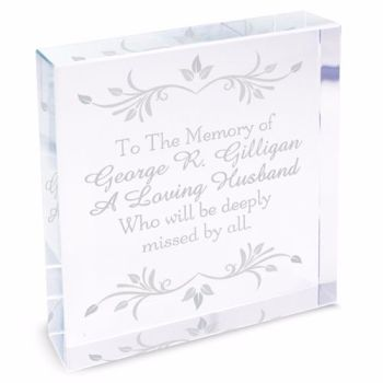 Personalised Sentiments Glass Block / Token - Large