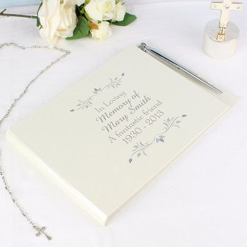 Personalised CONDOLENCE BOOK - Memorial Guest Book - Rememberance Guest Book