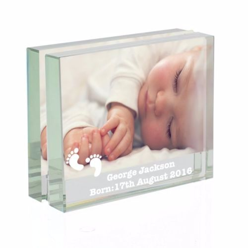 Footprints Glass Photo Block Frame Personalised Photo Frames