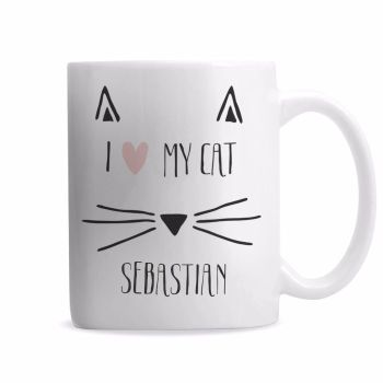 Personalised I LOVE MY CAT Mug