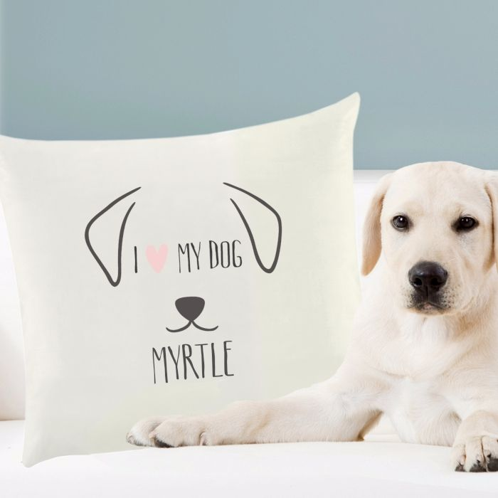 Personalised I LOVE MY DOG Cushion Cover