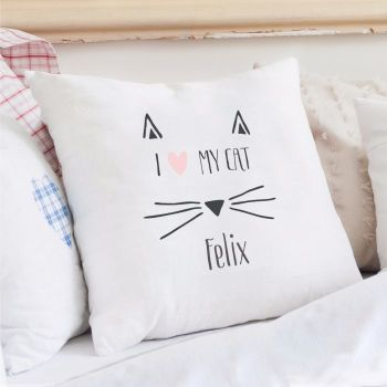 Personalised I LOVE MY CAT Cushion Cover