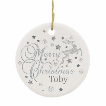 Personalised REINDEER Ceramic Round Christmas Tree Decoration