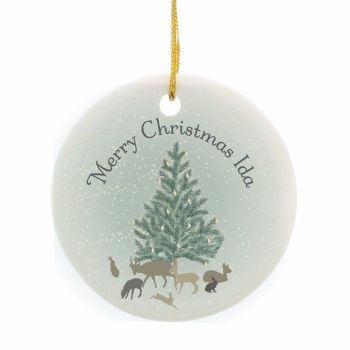 Personalised WINTER'S NIGHT Ceramic Round Christmas Tree Decoration