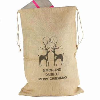 Personalised REINDEER Hessian Christmas Sack