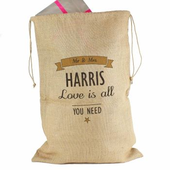 Personalised WEDDING COUPLES Hessian Christmas Sack