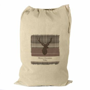 Personalised HIGHLAND STAG Cotton Christmas Sack