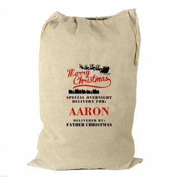 Personalised MERRY CHRISTMAS Cotton Christmas Sack