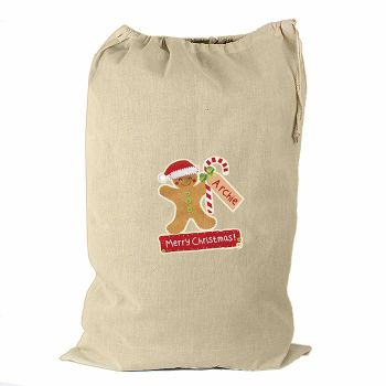 Personalised GINGERBREAD MAN Cotton Christmas Sack