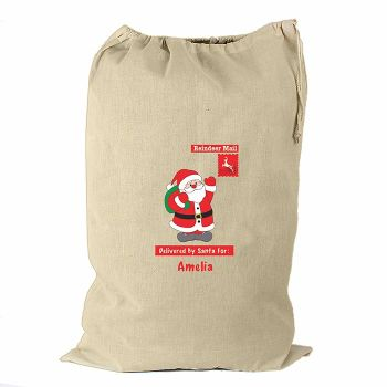 Personalised FATHER CHRISTMAS Cotton Christmas Sack