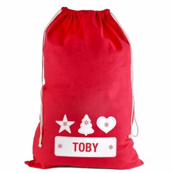 Personalised FESTIVE STITCH Cotton Christmas Sack