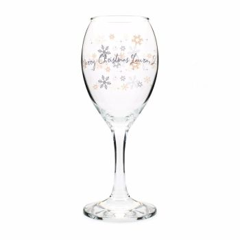 Personalised SNOWFLAKE Christmas Wine Glass