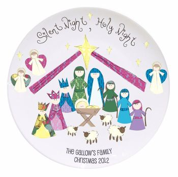 Personalised SILENT NIGHT Christmas Eve Mince Pie Plate