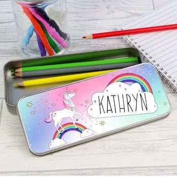 Personalised UNICORN PENCIL TIN - Unicorn Pencil Tin & Crayons Pencil Case