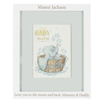 Personalised DISNEY DUMBO Baby Frame / Wall Plaque - Baby, Christening, Baptism Gift
