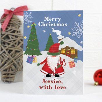 Personalised TARTAN SANTA Childrens Christmas Card
