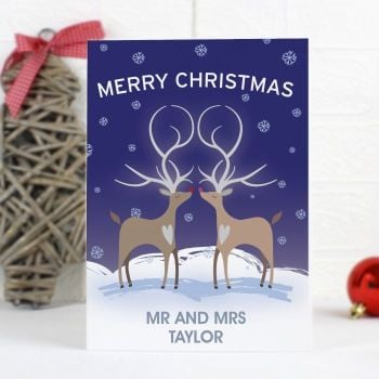 Personalised REINDEER COUPLES Christmas Card