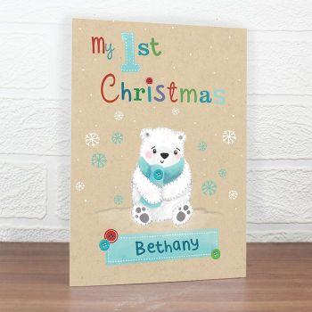 Personalised POLAR BEAR MY 1st Christmas Card, Baby's 1st Christmas Card