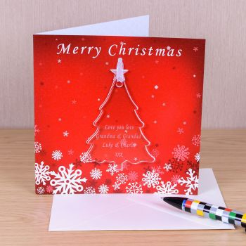 Personalised CHRISTMAS TREE DECORATION with CHRISTMAS CARD,